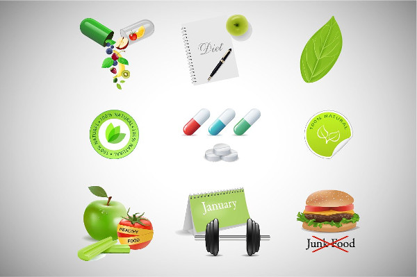 Realistic Fitness & Health Icons