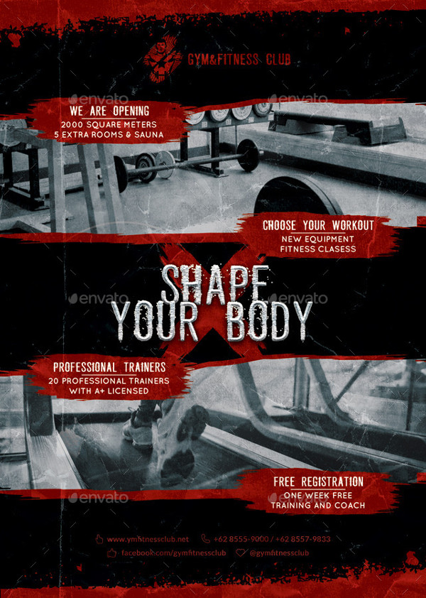 Editable Fitness Center Poster Template