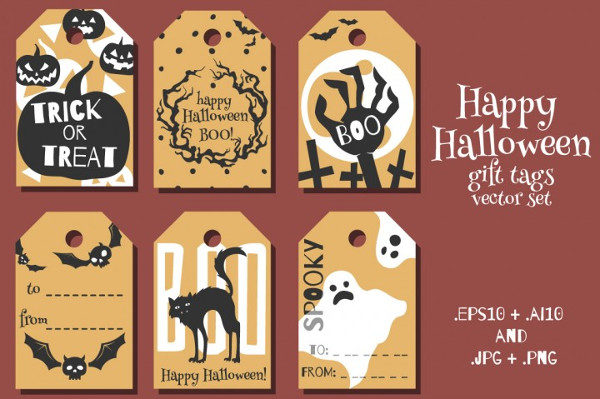 Halloween Gift Tags Vector Set