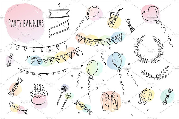 Hand Drawn Birthday Party Banners