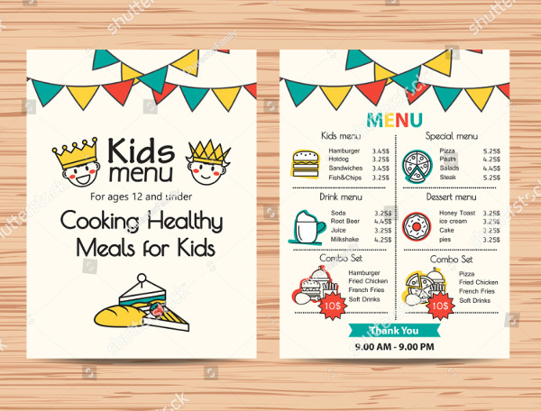 Healthy Meal Menu Template for Kids