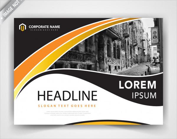 Horizontal Wavy Brochure Design Free