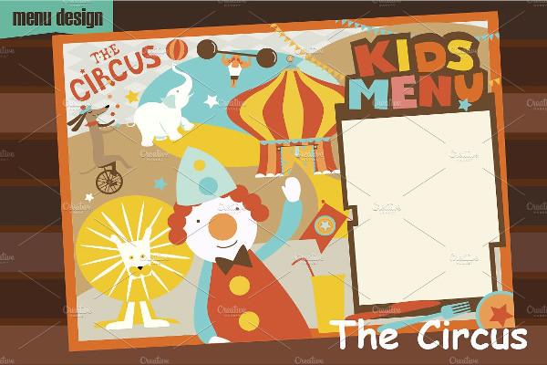 Kids Circus Menu Template