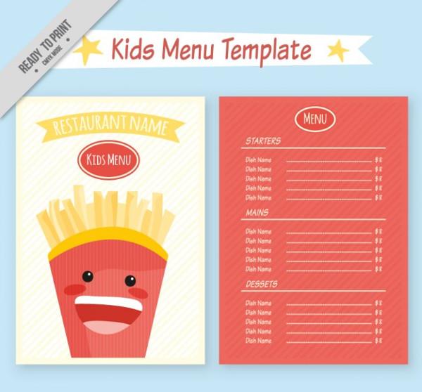 Kids Restaurant Menu Template Free Vector