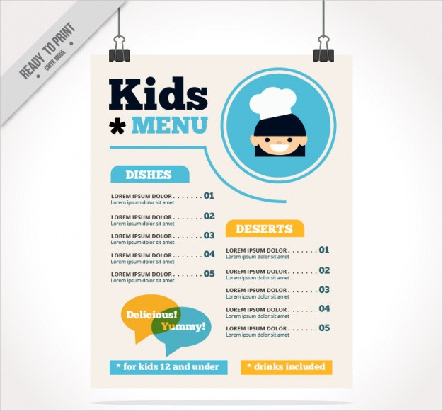 Kid's Menu with Blue Details in Flat Design Free