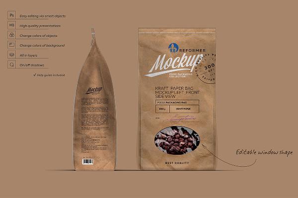 Kraft Paper Bag Mock-Up Left Side