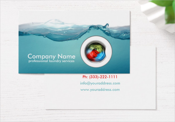 Blue Laundry Service Business Card Template