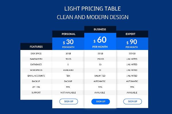 Light Price Table Design