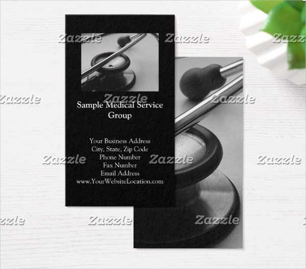 Medical Stethoscope Black & White Business Card