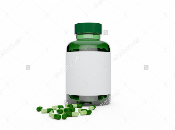 Mockup of Green Plastic Bottle with Pills