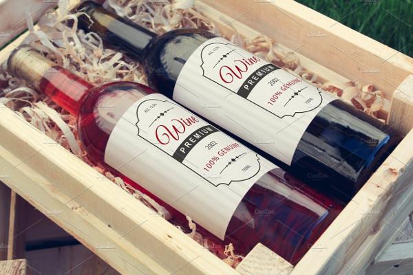 Wine Bottle Label Mock-Up