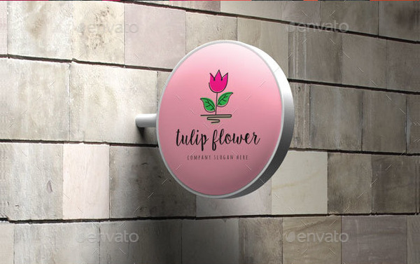 Modern Tulip Flower Logo Template