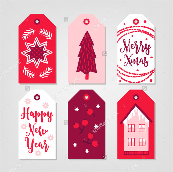 Set of New Year Gift Tags