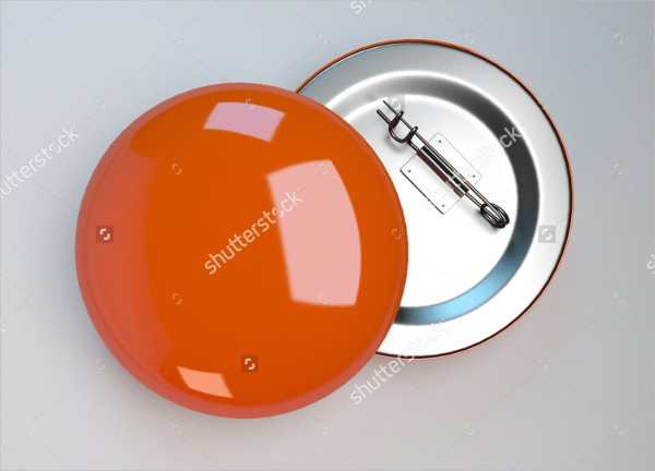 Orange Badge Pin Brooch Mock-Up