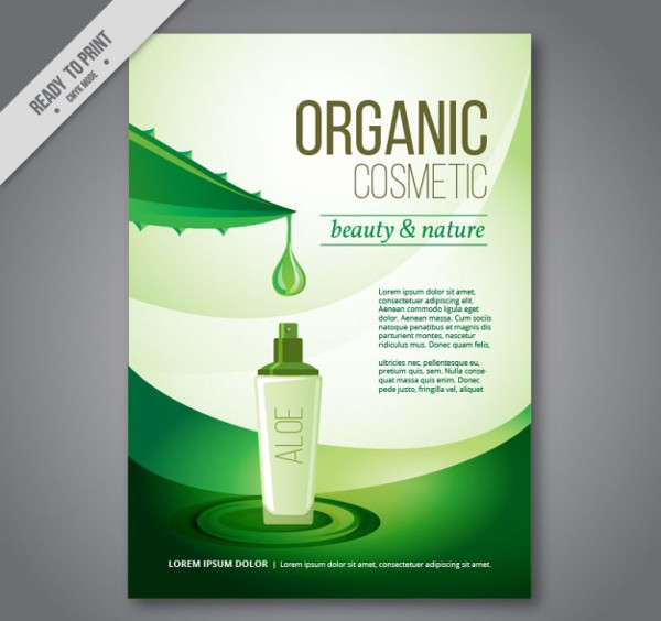 Organic Beauty Cosmetic Flyer Free Vector