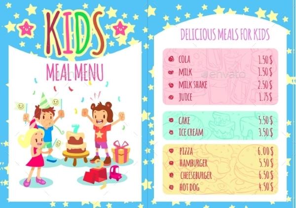 Perfect Kids Meal Menu Template