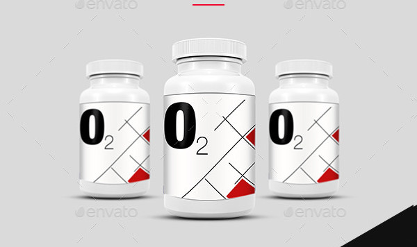 O2 Supplement and Pill Bottle Mockup