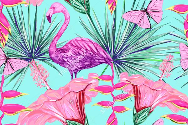 Watercolor Pink Flamingo Pattern