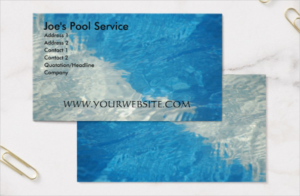 Pool Services Business Card Template