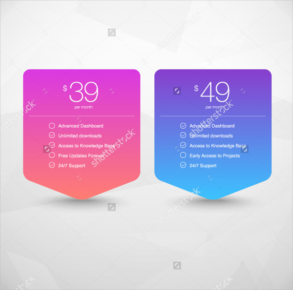 Two Vector Pricing Tables in Web Presentations