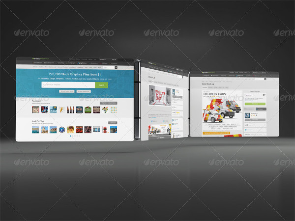 Professional Website 3D Display Mock-Up