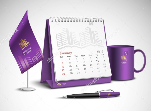 Purple Calendar Vector Mockup