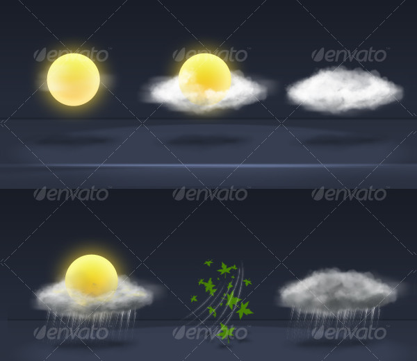 Realistic Icons of Weather