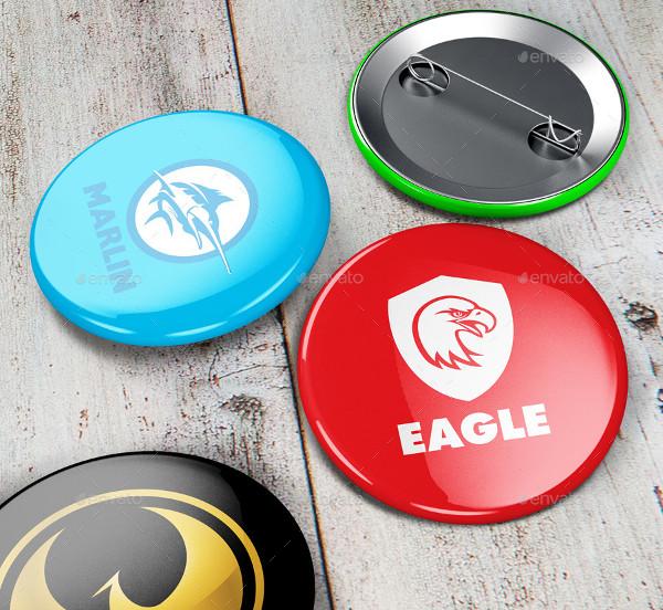 Realistic Pin Button Badge Mockup