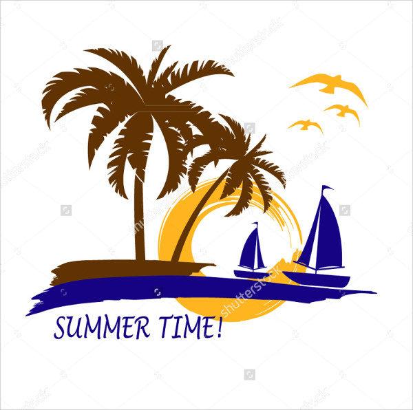 Beach Summer Time Logo Template