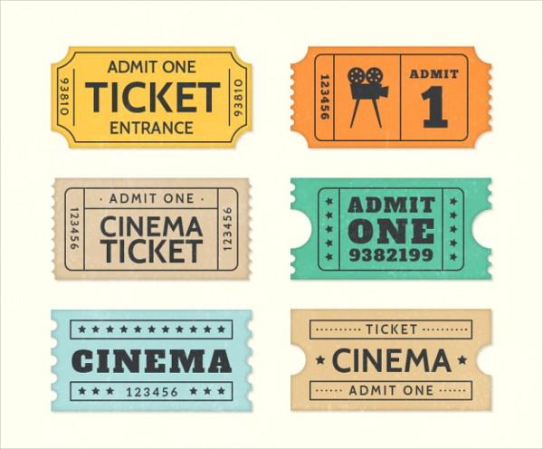 Retro Cinema Tickets Free Vector