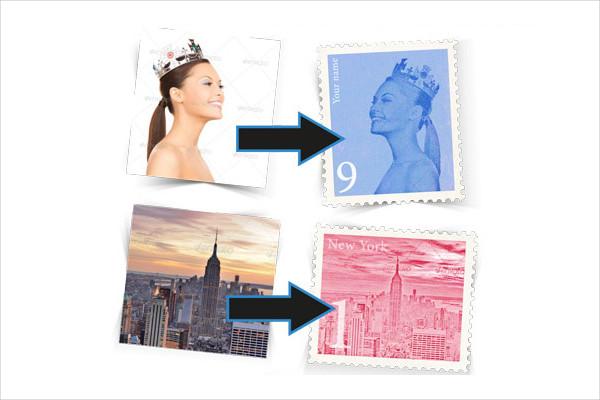 Retro Postage Stamp Template