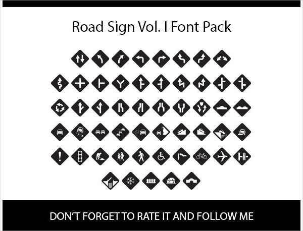 Road Sign Icon Fonts Pack