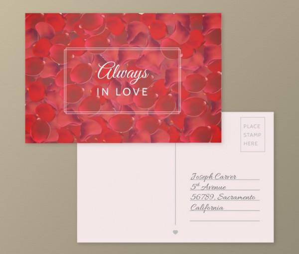 Romantic Postcard with Petals