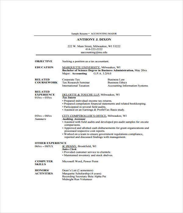 7+ Accountant Resume Templates