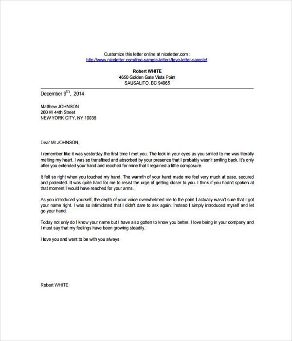 Sample Love Letter Template