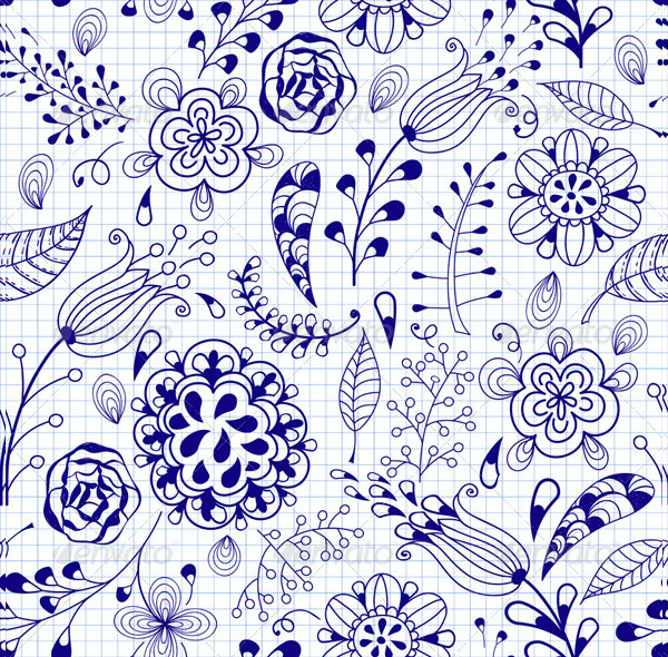 Seamless Floral Summer Doodle Pattern
