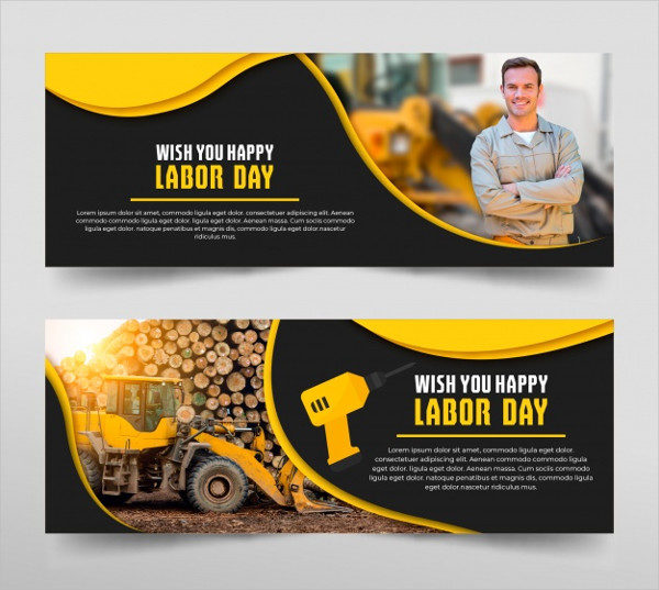 Set of Labour Day Banners in Hand Drawn Style Free