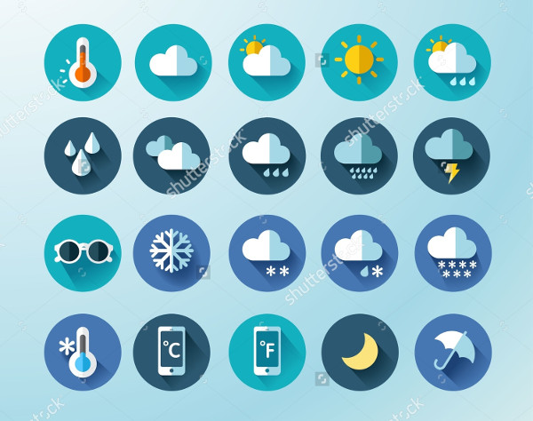 Set of Weather Round Icons