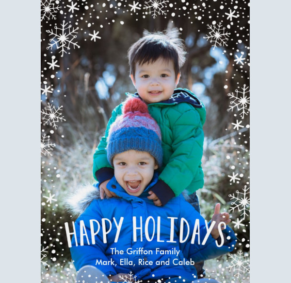 Snowflake happy Holidays Card Template