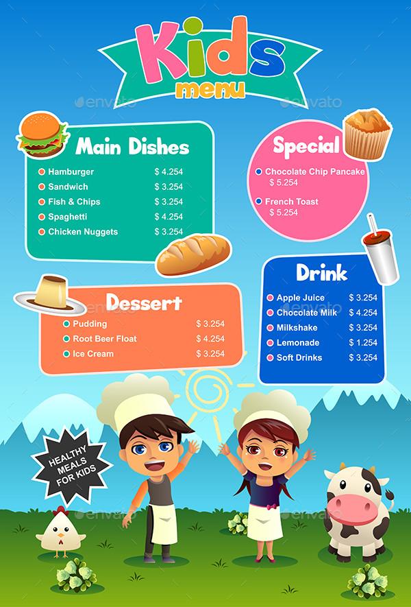 Special Kids Food Menu Template