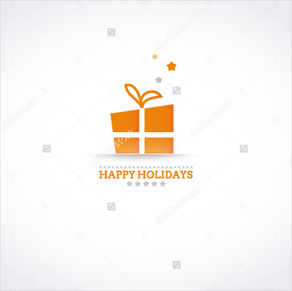 Stylized Happy Holiday Card with Gift Box