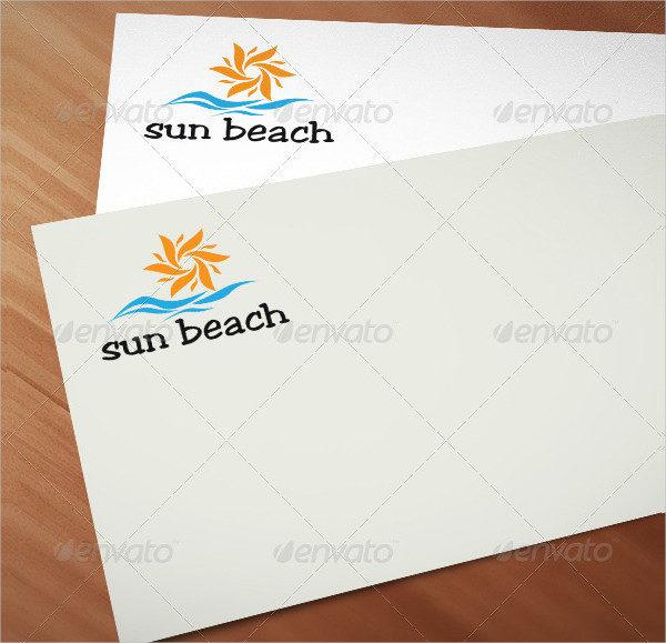 Unique Sun Beach Logo Template
