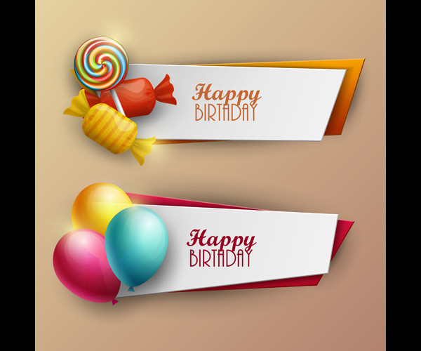 Sweet with Birthday Banners Vector Free