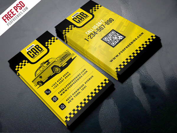 Taxi Cab Service Free PSD Business Card