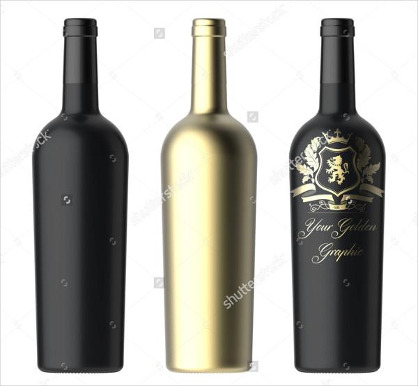 Three Wine Bottles Mockup for Golden Label