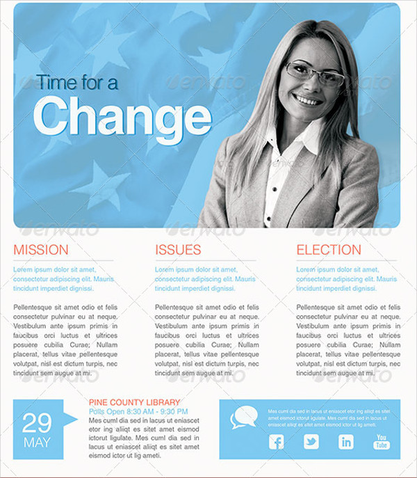 Time For A Change Flyer of Political
