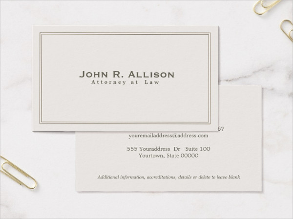Traditional Attorney Ivory Business Card Template