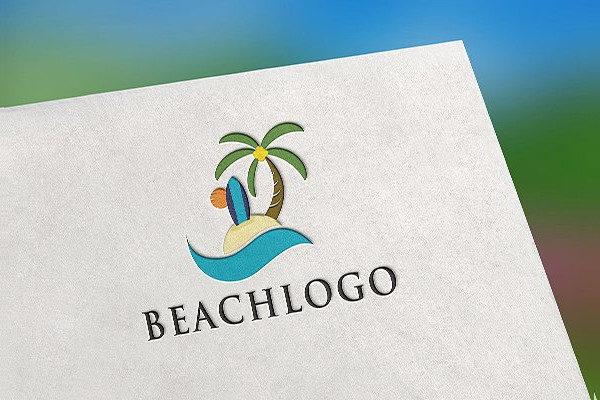 Tropical Beach Logo Template
