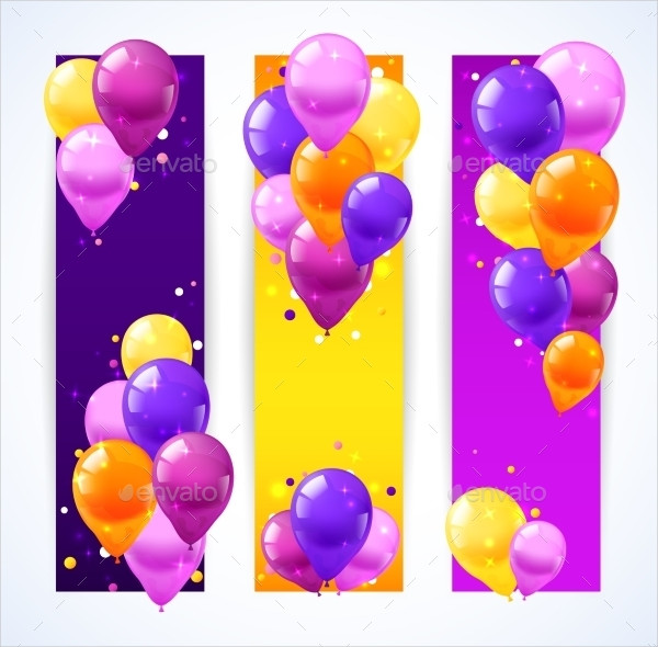 Vertical Birthday Banners Template