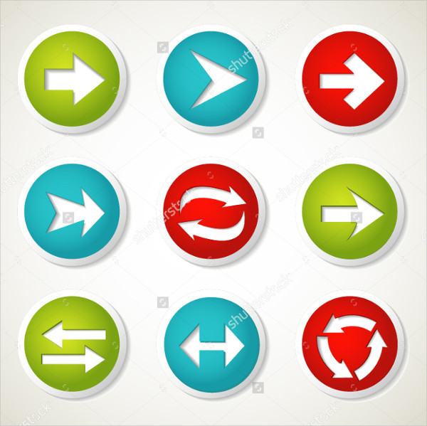 Colorful Arrow Buttons Vector Illustration